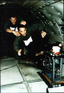 Tom Hanks and Kevin Bacon experiencing some 23 seconds of weightlessness